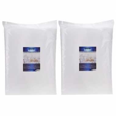 2x kunstsneeuw dekens / kleden 100 x 250 cm